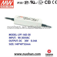 MeanWell 16w pwm dimmable led driver 30v with pfc function