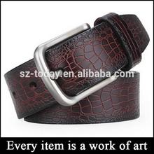 2014 Custom men's Crocohide leather belt with pin buckle