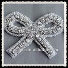 Bridal Accessories Silver Little Bow Sash Crystal Trim, Rhinestone Bow