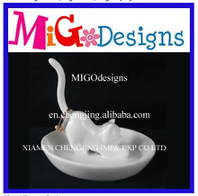 Special Cat Shaped Porcelain Jewelry Holder Figurines For Wholesale