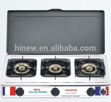 three brass burner stainless steel gas cooker