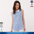China Garment Fashion Lapel Sleeveless Blue Chiffon Ladies Blouse in Casual Style