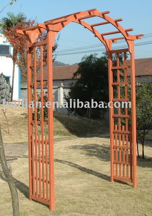 Hl322 arco de madera arcos pabellones p rgolas y for Arco decorativo jardin