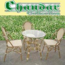 Bamboo like aluminum table set rattan furniture