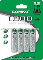 NiMH battery AAA 1000mAh 1.2v