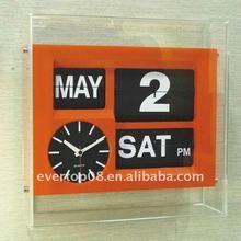 Crystal auto flip calendar rectangular wall clock with souvenir design