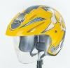 Huadun autobike yellow decals open face motorcycle helmet, safety helmet HD-50W
