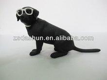 black kawaii resin dog figurine for holiday gifts