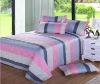 Pigment printed polyester microfiber plush bed sheet set