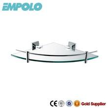 Wall Mounted Single Brass Corner Glass Shelf 92107B