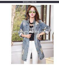 DJ217581 2014 China Wholesale Denim Jacket Women Lady Slim Jacket Long Style Fashion Jeans Jacket For Woman