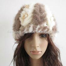 lovely knitting brown /white mink fur hats for women