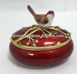 Hot pink bird jewelry trinket box Round jewelry case