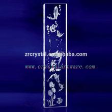K9 3D Laser Crystal Pillar with Etched Carp Inside