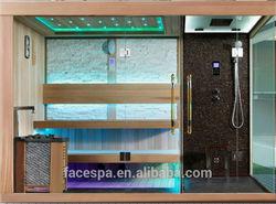 Steam shower with Finnish sauna for high end bathroom design
