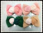beautiful girl's chiffon mesh rolled rosette hair bow, Chiffon ruffle flower, chic rosette bow hair decoration