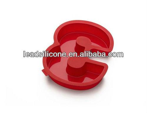 Molde de pastel de silicona número 3, De color rojo