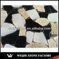White onyx, travertino amarelo e preto pedra natural mosaico fronteiras
