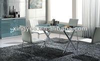 modern living room chrome steel metal frame frosted tempered glass top rectangular cross leg dining table