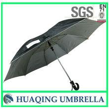Black fabric 2 fold windproof umbrella,curved placstic handle