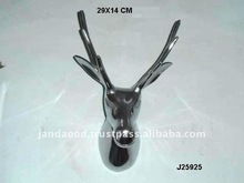 Cast metal Stag head sculpture in mirror polish also available in nickel plating