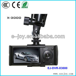 2014 Hot promotion X3000 R300 2.7' dual lens GPS Tracking and G sensor car black box,car dvr camera