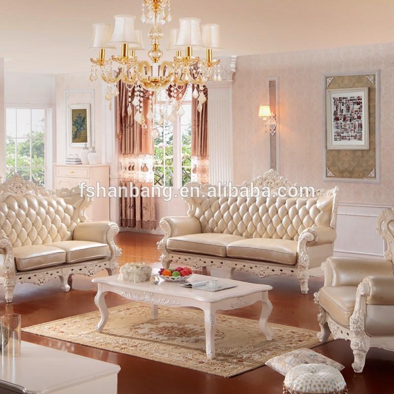 2015 nouveau mod le de luxe moderne l gant en cuir tissu en bois victorienne salon canap de for Modele sallon en bois