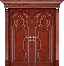 Justime Exterior Solid Wood Main/Front Double Door Designs