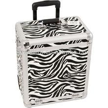 4 in 1 zebra-stripe beauty assemble luggage trolley aluminum jewellery box