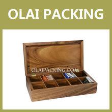 Solid Wood 10 Slots Top Grade Tea Storage Box