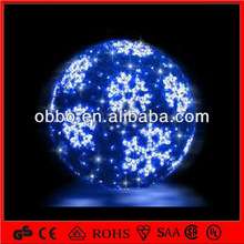 3D Ball Blue Tinsel with White LED snowflake outdoor