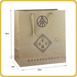 Offset printing custom kraft paper wine bag for promotion manufacturer
