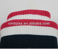 stripe poly knit 2*2 rib trim fabric