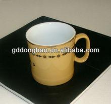 2013 china manufacturer eco ceramic gold rim mug with C handle