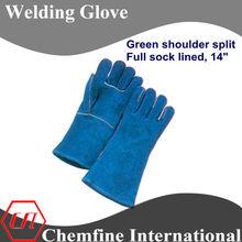 "welding glove, green shoulder split, full sock lined,14"" leather welding gloves/ EN388"