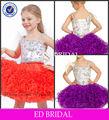 2013 zc930 nuevo modelo de la rodilla longitud de organza vestidos para niñas de siete años de edad