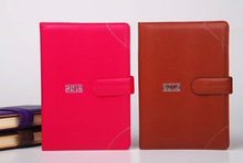 leather cover pocket notebook with magnetic buckle and penholder