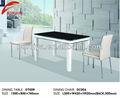 top preto de vidro temperado mesa de jantar com bases de madeira
