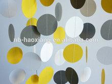 Yellow - Gray - White circle Paper Garland, Wedding, Bridal Shower, Birthday, Baby Shower