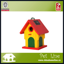 New design wholesale bird cages Colorful painted wooden Solar LED bird house