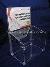 2014 new design acrylic donation box with lock