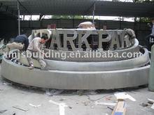 handmade stainless steel outdoor logo sculpture