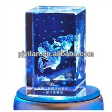 nice animal 3d laser etched crystal cube for gift