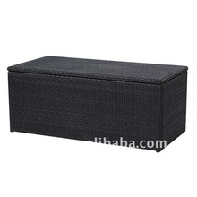 Stylist Outdoor Brown Wicker Storage Ottoman rattan cushion box
