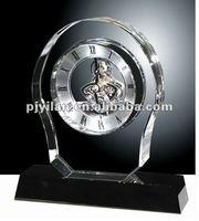high quality optical custom glass classic polished crystal desk clock