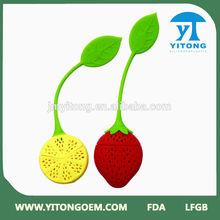 Lovely strawberry & lemon shape silicone tea bag