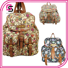 Ladies Designer Retro Owl printing Canvas Backpack Gym Bags