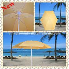 2012 hot sale light yellow promotional beautiful beach umbrella