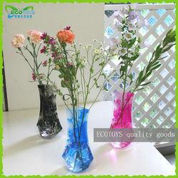 plastic Foldable flower vase on table, PVC Decorative vase