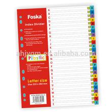 Letter size Assorted Colors Plastic Index Divider/Plastic File Index